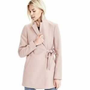 Banana Republic Nude Blush Melton Tie Wool  Coat